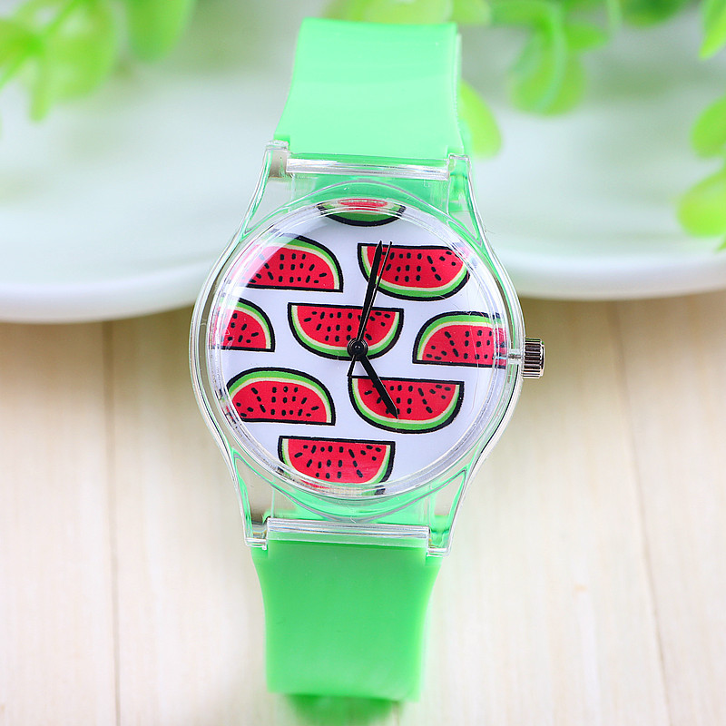 7 Styles Jelly Silicone Watch Watermelon Fruit Plastic Women Dress Green Color 1piece/lot BW-SB-650 - Q-Star Fashion Store (min order 1pc store)