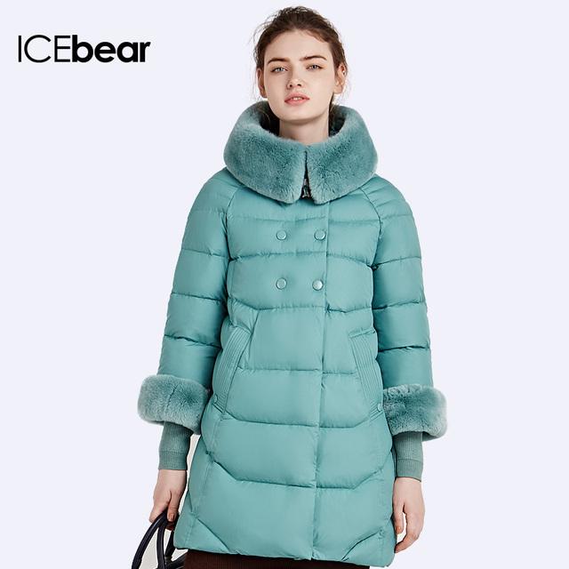 ICEbear 2016Пуховик свободного покроя Сьемные Трикотажные манжеты куртки мягкий воротник из кролика Женские пуховики16G639