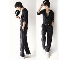 Buy HOT New Fashion One-piece pants men's casual pants loose Korean Double breasted overalls singer stage costumes Rompers for $92.65 in AliExpress store