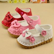 2016 spring new  Girls Bow Shoes Casual shoes Princess Children kids shoes 11.5-13.5CM Z&L166(China (Mainland))