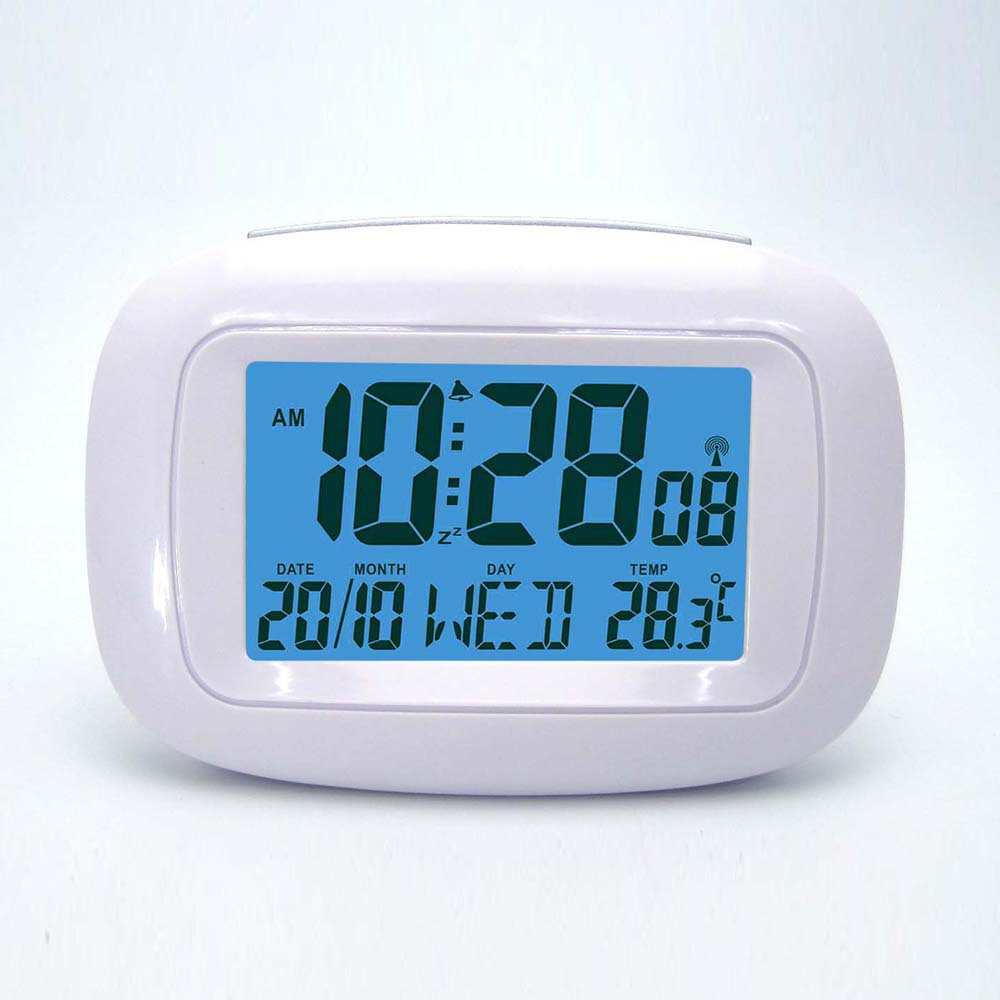 buy wireless white dcf weather station indoor temperature with blue backlight. Black Bedroom Furniture Sets. Home Design Ideas