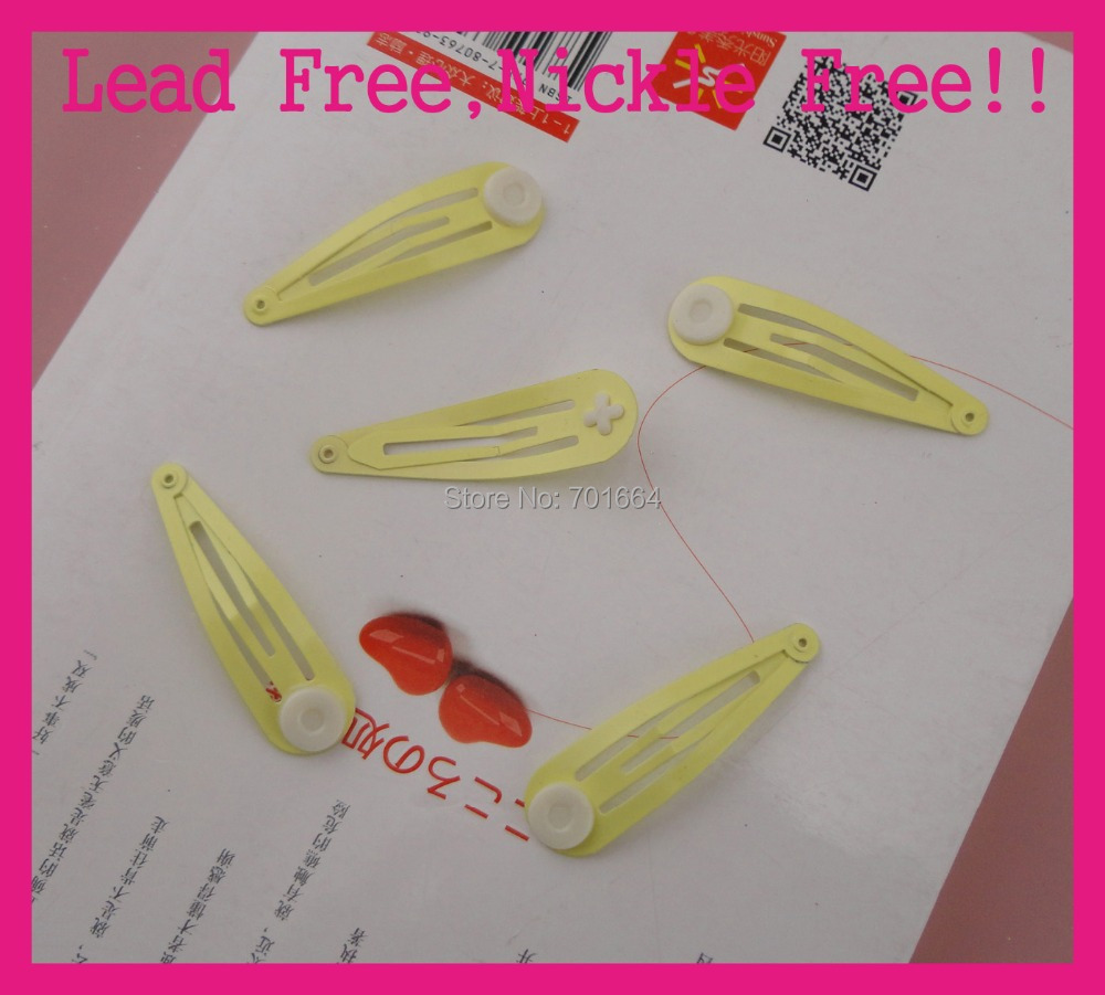 """50PCS 50mm 2"""" light yellow plain metal snap clip with 8mm gluing pads at nickle free and lead free quality,BARGAIN for BULK(China (Mainland))"""
