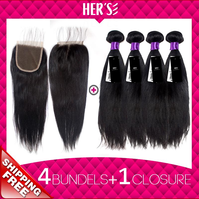Malaysian VIRGIN Hair With Closure!4PCS Malaysian Virgin Hair STRAIGHT Weave Bundle With 4*4 Top Lace Closure Best Weave Closure<br><br>Aliexpress