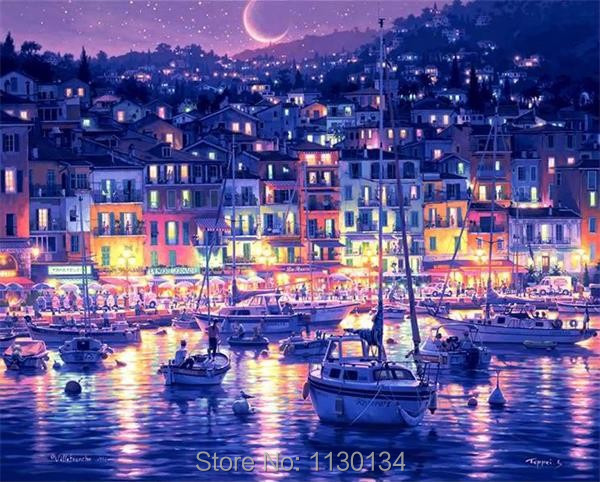 Mosaic diy diamond painting 3d diamond embroidery blue night scene hobbies and crafts pictures of rhinestones home decoration X5(China (Mainland))