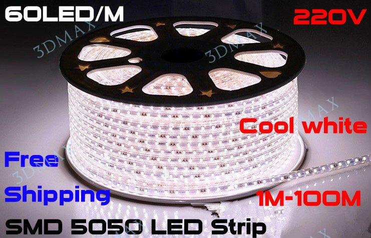 new Factory stock 5050 LED strip 220V 230V 240V white/warm white Waterproof flexible SMD led strip 60leds/M 300leds/5M(China (Mainland))