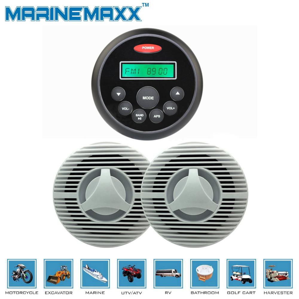 Waterproof Marine Motorcycle MP3+1Pair Waterproof Marine Speakers for Boat SPA Golf Cart(China (Mainland))
