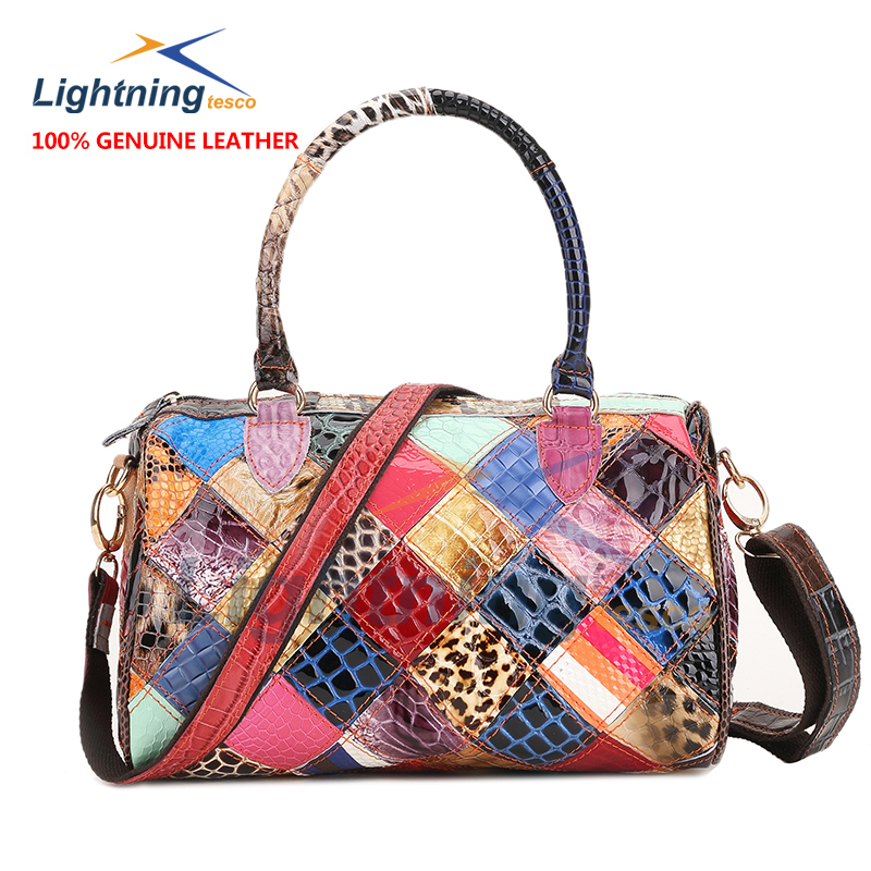 2015 fashion 100% genuine leather bag for women patchwork crossbody bag hot selling boston soft women handbag women shoulder bag(China (Mainland))
