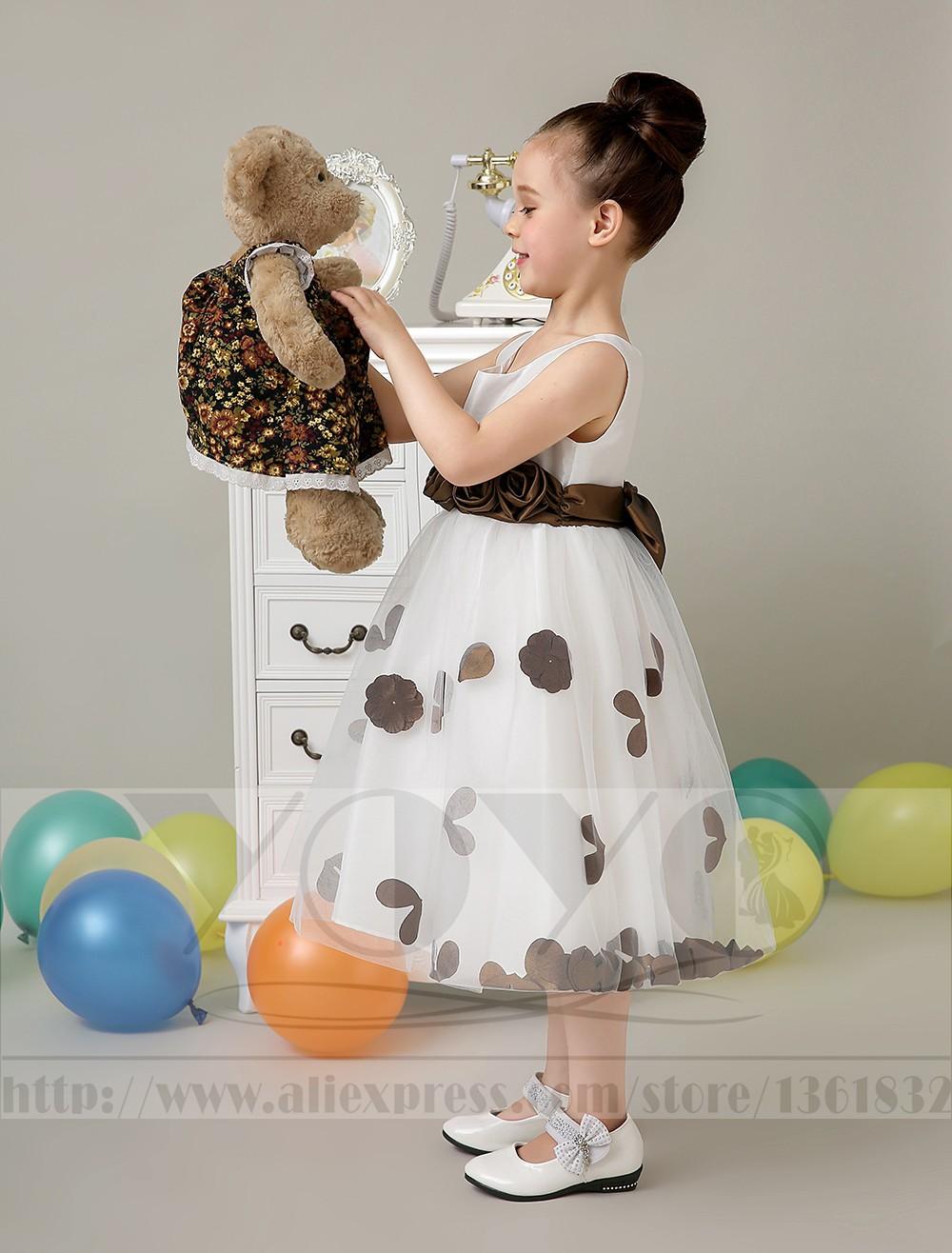 Скидки на Тюль платье-линии кот маленькие девочки платья с глод венчания орденской ленты девушки dresess дети девочки формальные торжества платья