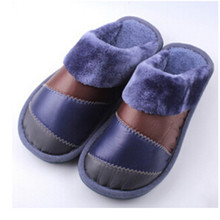 2016 winter new house slippers waterproof down mix colors man women home slippers feather  sole warm  wholesale(China (Mainland))
