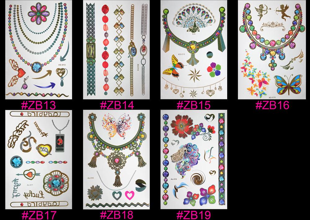 Hot Temporary tattoo Gold tattoo Flash Tattoos Leaf Tatoos Metallic Sex Products jewelry Henna Tatouage Body art  tatto stickers