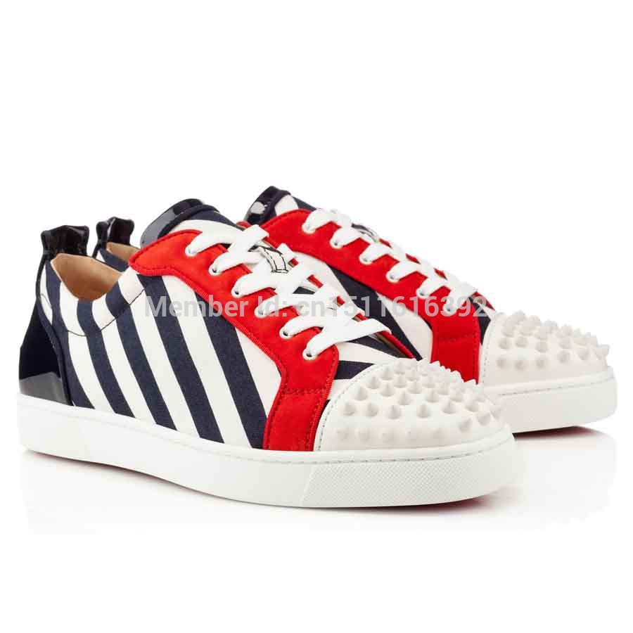 Hot sale, Red Bottom Men Shoes 2014 CLASSIC RED BOTTOM MENS LOUIS JUNIOR SPIKES NAVY WHITE COTTON SPIKED TOE RED SOLE FLAT Free<br><br>Aliexpress