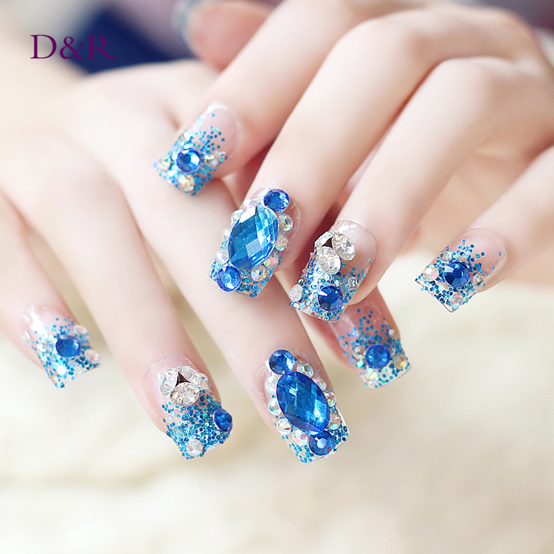 Nail Art 3D False Nails Decoration Dimond With Glue Full Nail Tips Cover Fake Nail Decorated Party Wedding Adhesive(China (Mainland))