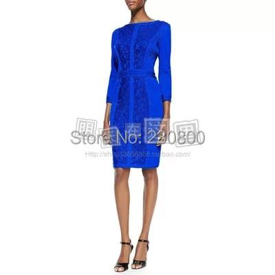 2015 blue green red long-sleeve lace pleated dress vestido de noite verde vermelho rendas plissado office S-XXL - shirley chan's store