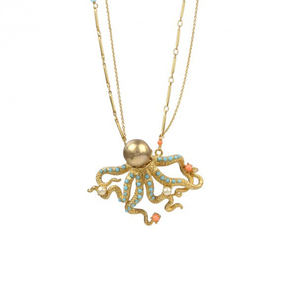 2016 NEW Luxury Design Ocean Series Marine life octopus gem necklace Garden Necklaces & Pendants for women(China (Mainland))