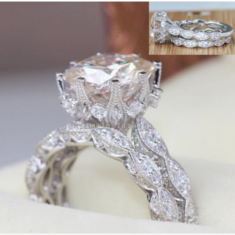 2016 Brand Design Vintage ring Round cut 3ct Simulated diamond Cz 925 Sterling silver Engagement Wedding Band Ring for women(China (Mainland))