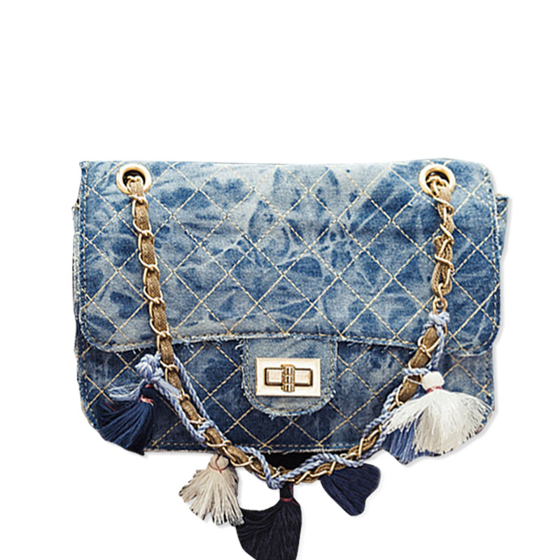 2016 Fashion Cowboy jeans Crossbody Women Bag Summer retro Chain Tassel Shoulder Bag Female Canvas Messenger Bag for Younth(China (Mainland))