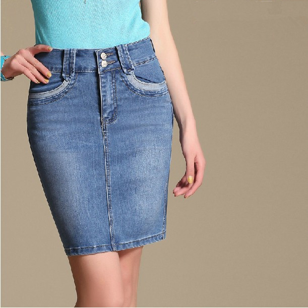 2016 New Autumn Soft Cotton Pencil Jean Skirts Pockets Elastic Wrapround Slim Demin Knee length S-4XL - LOOKWEEN store