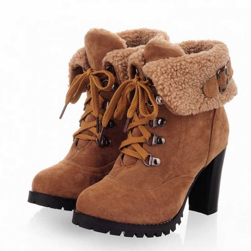 big size 34-43 free shipping 2012 new designed lady sexy high heels platform nubuck leather lace up snow boots shoes 2012121508(China (Mainland))