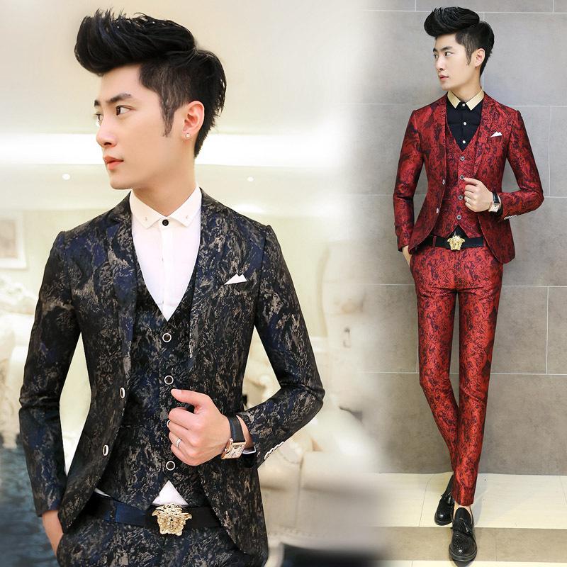 Free Shipping 2015 New Fashion Men Suit Floral Printing Men's Clothing Suits 3 PCS / Set Korean Style Terno Slim Wedding Blazer(China (Mainland))
