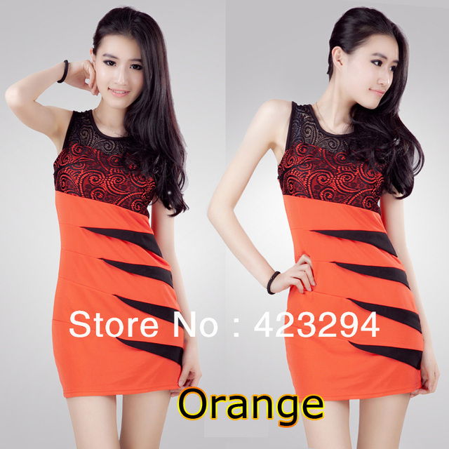 2013 spring and summer women's new Korean fashion Slim Dress S-type spell lace 6 colors optional lycra