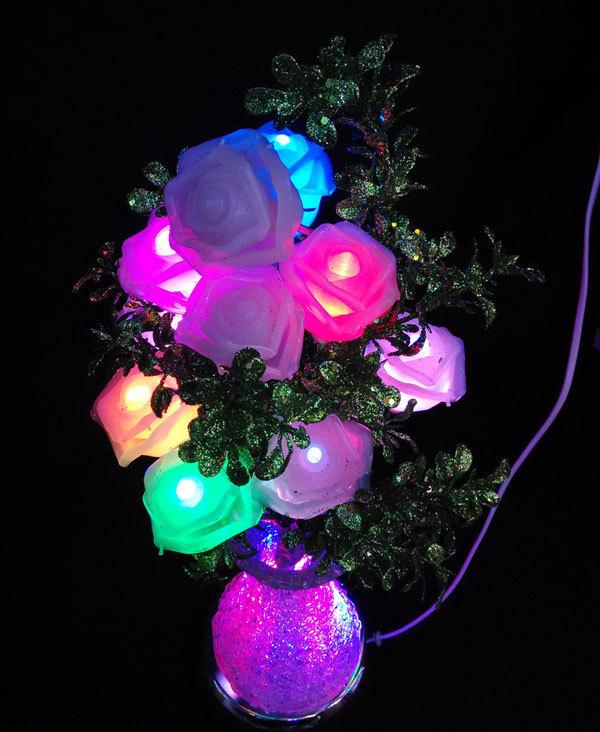 Artificial flower LED Rose Flower vase light, RGB Change Color, 220V for wedding party decoration(China (Mainland))