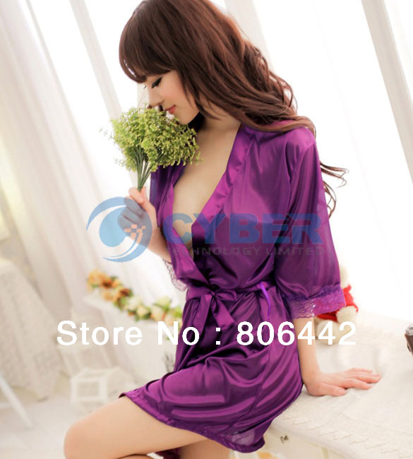 Hot Sale Women's Sexy Sleepwear Ice Silk Bathrobes Nightgown + G-String 3Colors Free Shipping 13137