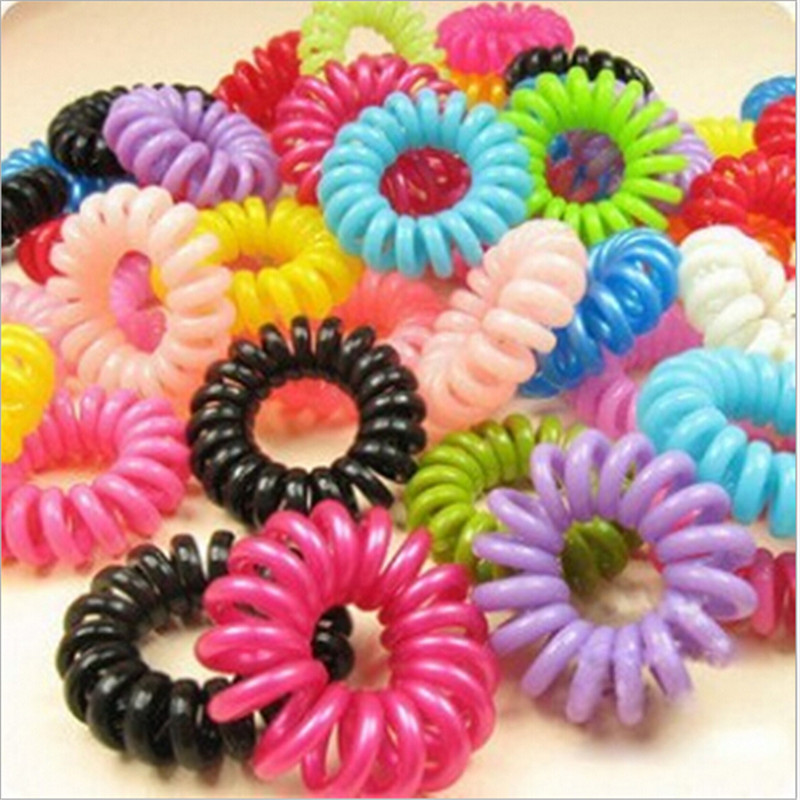 10 pcs / lot Telephone Wire Line Hair Ring Gum black / Colored Elastic Hair Bands For Girl Hair Scrunchy(China (Mainland))
