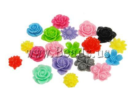Free shipping!!!Resin Cabochon,chinese style, Flower, layered, mixed colors, 14-21mm, 100PCs/Bag, Sold By Bag