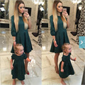 2016 autumn winter mother daughter dresses fashion party family look mother and daughter clothes summer family