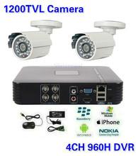 Sicurezza cctv 4ch dvr hvr nvr 2 pz 1200tvl esterno macchina fotografica della pallottola sistema di telecamere di sorveglianza(China (Mainland))