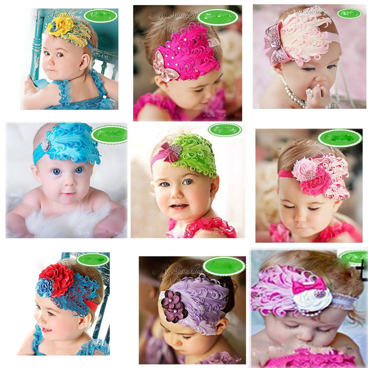 Charming Hair Accessories Baby Toddler Feather Flower Bow Shaped Headband 10 Colors BB-002Одежда и ак�е��уары<br><br><br>Aliexpress