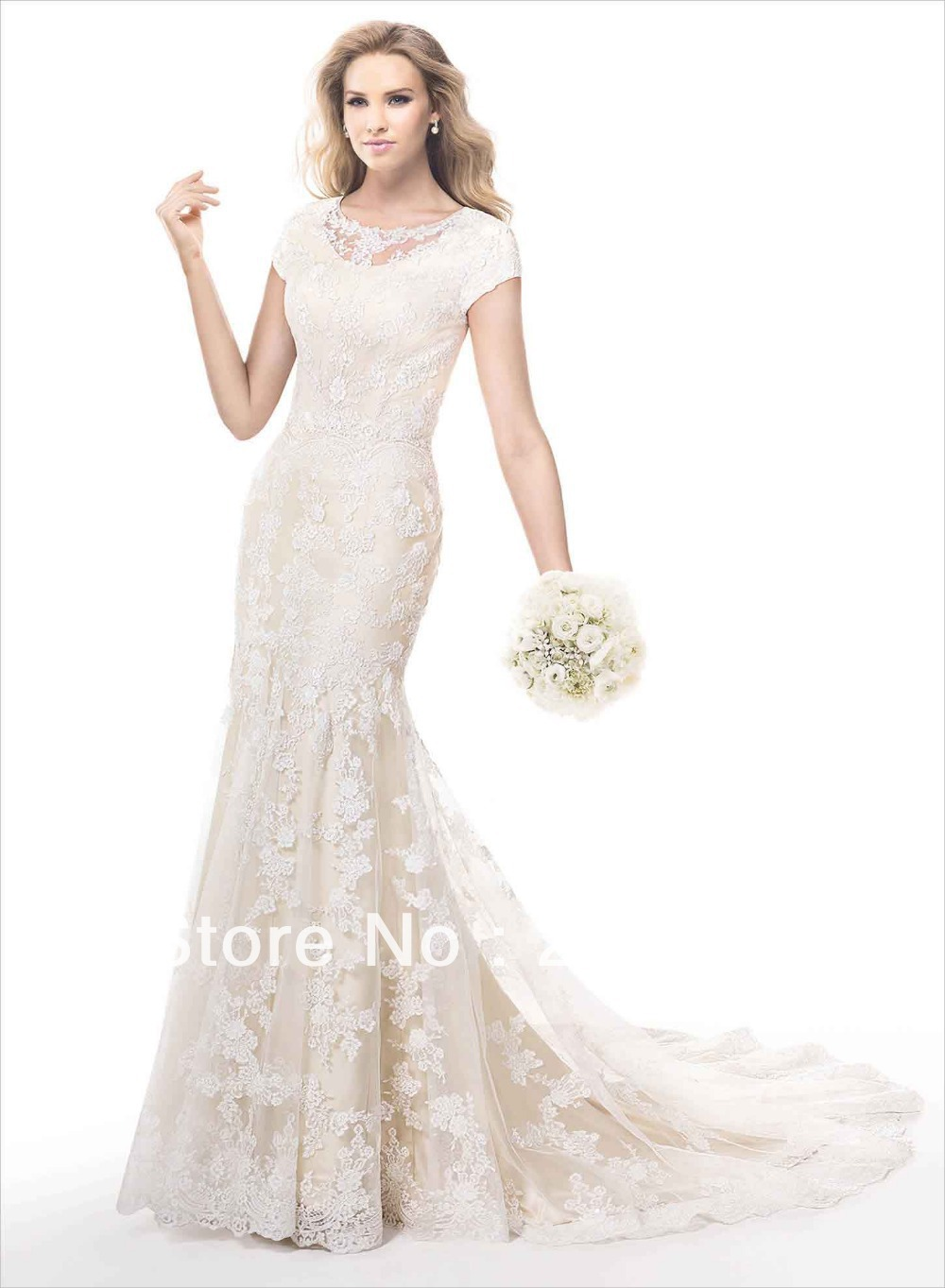 2014 modest lace overlay champagne satin slim mermaid for Wedding dress lace overlay