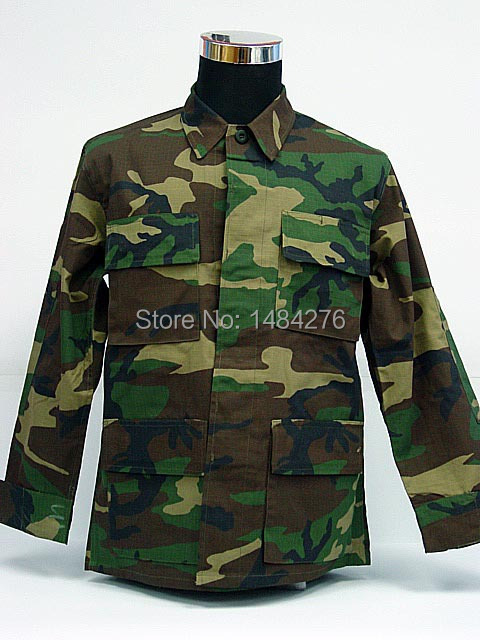 USMC US ARMY Camo Woodland BDU Uniform Set War Game Tactical Combat Shirt +Pants