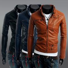 men coat 2015 leather coat zipper button Slim Male Leather Jacket Men Motorcycle Coats Zipper Men's Clothes Man Jackets,YW1376(China (Mainland))