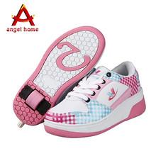 Спортивная обувь для девочек мальчик авто воздушного дыхания колесо обувь детская обувь 1 колеса дети мужского скейт-ролик обувь Heelys