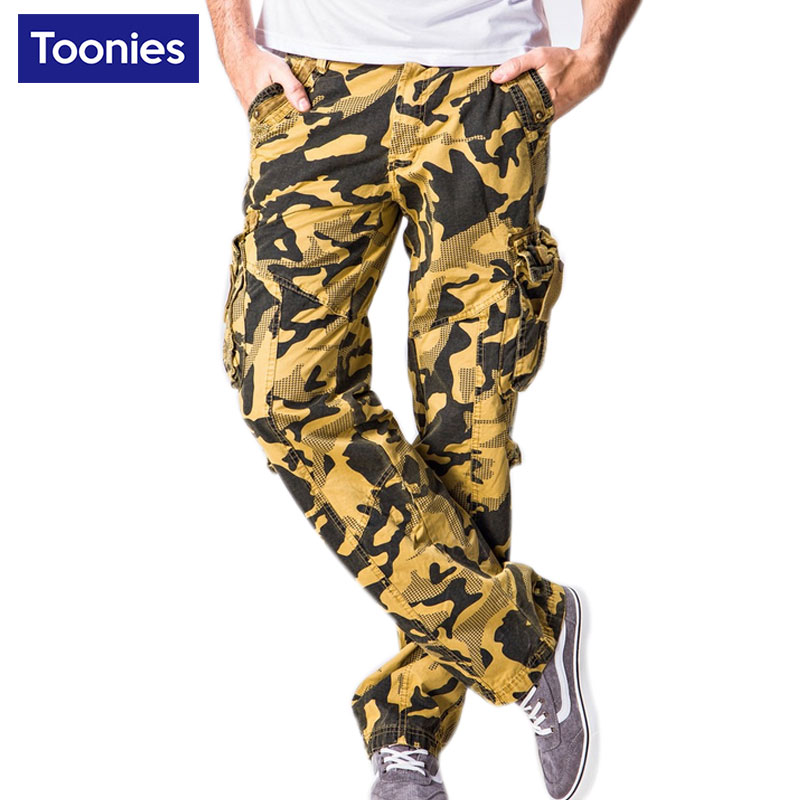 Camouflage Sweat Mens Pants for Men Overalls 2017 High Quality Men's Trousers Plus Size Army Green Yellow Cargo Pants Outerwear(China (Mainland))