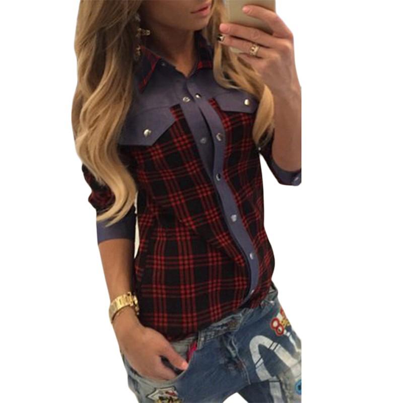 2015 весна осень красный клетчатую рубашку мода хлопок и джинсы лоскутная длинным рукавом с отложным воротником женщин свободного покроя блузка