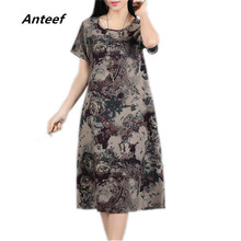 Buy new fashion cotton linen vintage print plus size women casual loose summer dress vestidos femininos party 2017 dresses for $11.97 in AliExpress store