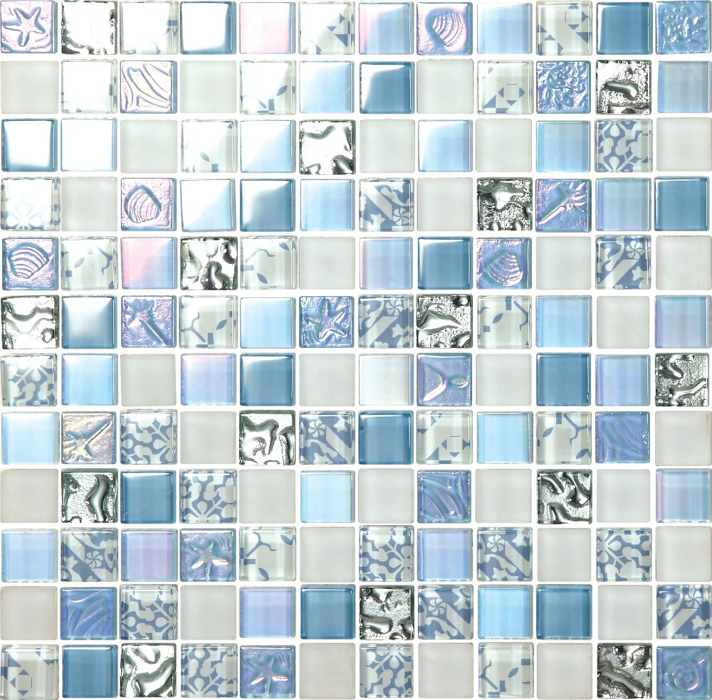 Iridescent light blue beach style crystal glass mosaic tiles gradient color 3D embossing shell starfish flower hotel deco tiles<br><br>Aliexpress