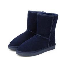 MBR LỰC Cổ Điển da Bò Chính Hãng Ủng 100% Len Giày Bốt Nữ mùa đông Ấm Áp cho nữ size lớn 34 -44(China)