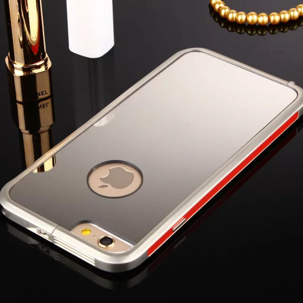 Elegance Acrylic Zinc Alloy Plating Frame Metal Shell Protective Phone Case with Jewelry Chain for iPhone 6 6S Plus 4.7'' 5.5''(China (Mainland))