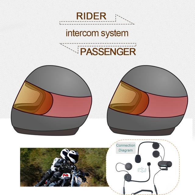 1 pc To Intercom Talking Pillion Passenger Motorcycle Bluetooth Intercom Helmet Headset TCOM-02S(China (Mainland))