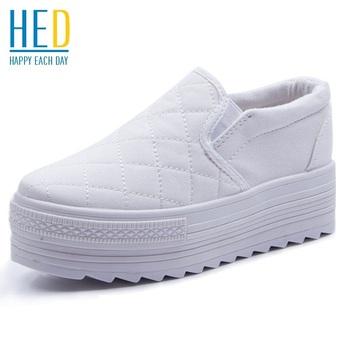 2015 новая весна дышащей обуви свободного покроя платформа женские туфли белый черный ...