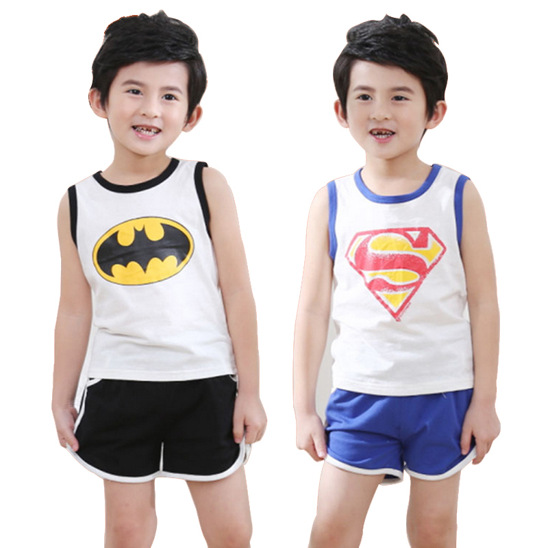 Vestidos 2016 New Summer Baby Boy Clothing Set Cotton 3-8 years Baby Clothes Batman Superman T-shirt + Short Sport Clothes Suit(China (Mainland))