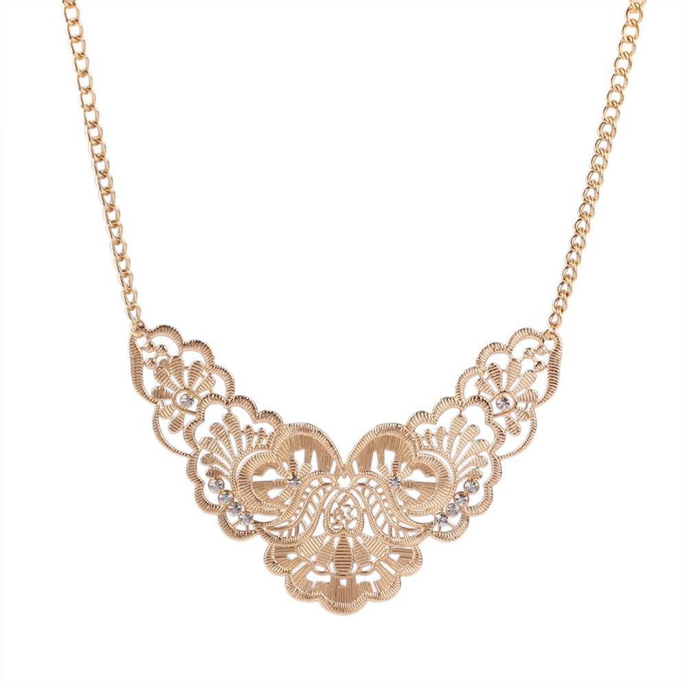 Alloy Vintage Gold Plated Hollow Flower Shorts Ethnic Rhinestone Fashion Statement Necklaces & Pendants Women Jewelry Gift N3199 - Love (Welcome to our store store)
