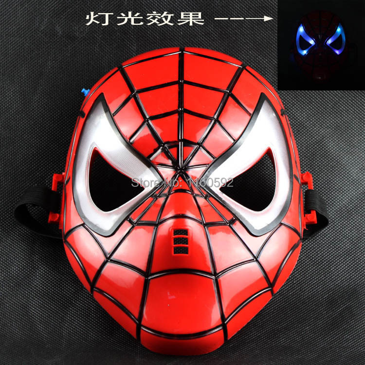 2014 New Hot Halloween Holiday Party PVC + transparent gauze material Luminous spiderman mask Dance Mask(China (Mainland))