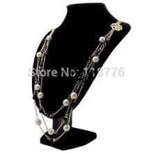 Europe Fashion Pearl Jewelry Austrian Crystal Flower Bead Long Necklace Sweater Chain Necklaces Pendants For Women