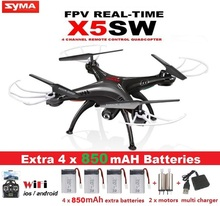 SYMA X5SW-1 FPV Drone X5C Upgrade 2MP WiFi Camera Real Time Video With 5 Battery
