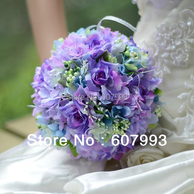 bridal bouquet Rose& Hydrangea wedding flower bridesmaid bouquet party decoration artificial silk flowers, Free shipping(China (Mainland))
