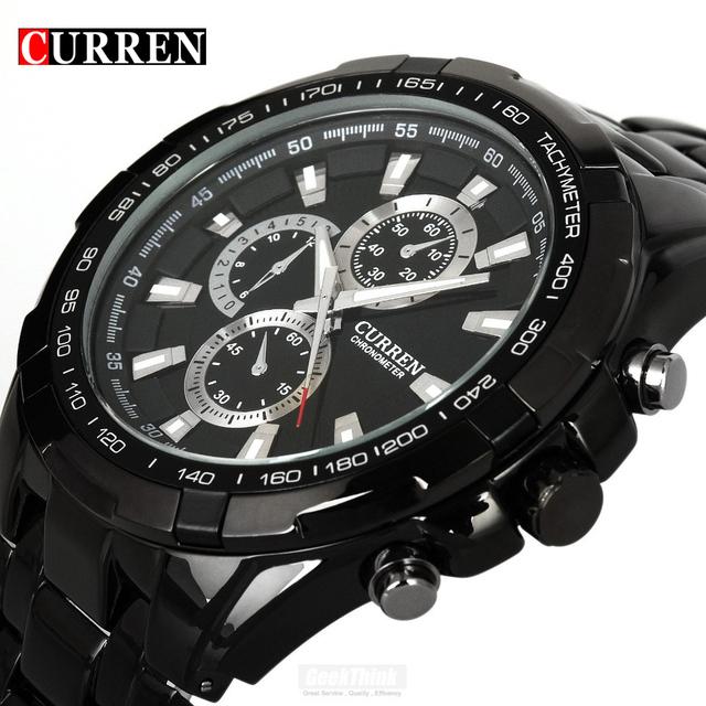 Curren кварцевые из нержавеющей полный стальные мужчины часы черный свободного покроя военная наручные часы платье водонепроницаемый мужской часы Relogio Masculino